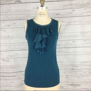 Ann Taylor Ruffle front frayed stretch layer top